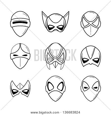 vector set of super hero masks in linear style
