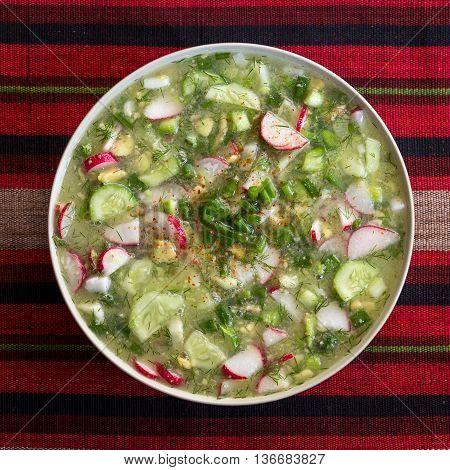 Vegetarian tropical cold soup okroshka made from radish cucumber dill green onions avocado coconut juice