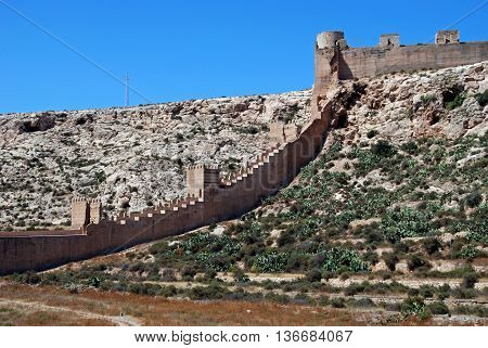 Moorish Castle and ancient walls of Jayran Almeria Costa Almeria Almeria Province Andalusia Spain Western Europe.