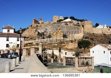 View of the castle from the East Antequera Malaga Province Andalucia Spain.