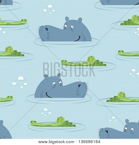 Hippo And Crocodile In Water Seamless Pattern. Good Hippopotamus And Alligator In Swamp Texture. Orn