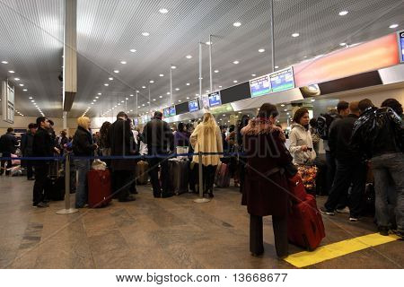 MOSCOW - DECEMBER 29: Turns to the registration desk at the airport Sheremetyevo, December 29, 2009, Moscow, Russia.