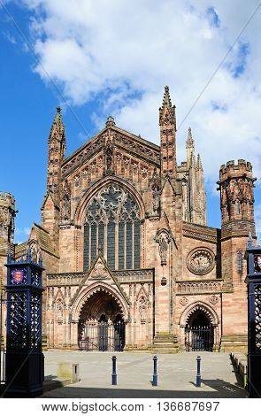 Front view of the Cathedral Hereford Herefordshire England UK Western Europe.
