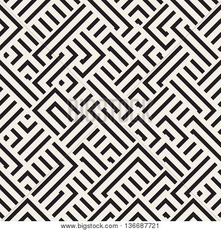 Vector Seamless Black And White Diagonal Irregular Interlacing Lines Geometric Pattern
