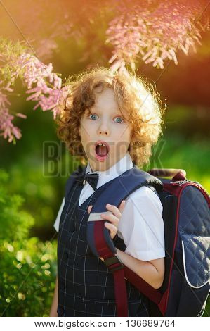 Little schoolboy standing about beautifully blossoming bush. Sunny day. First grader looks at the camera with a surprised expression. The boy has blond curly hair and blue eyes.