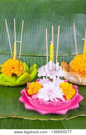 Krathong Made From Natural Materials.