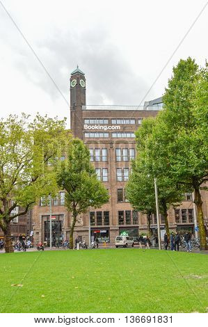 Amsterdam - September 15, 2015: Booking.com Headquaters In Famous Rembrant Park In Amsterdam, Nether