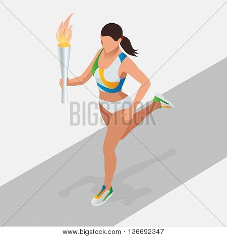Woman running with sport torch. Sporting Championship International Competition. Symbol of victory. Athletics Bearer Flat 3d isometric concept