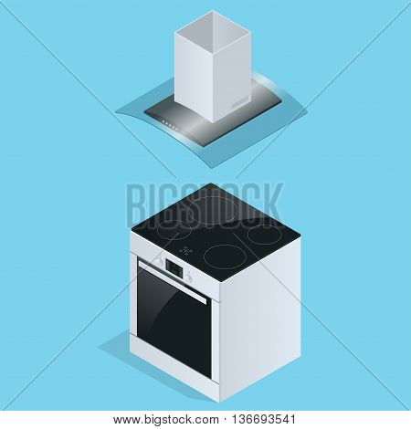 Extractor hood and Electric stove for kitchen illustration isolated on white background. Extractor hood icon. Flat 3d isometric illustration.