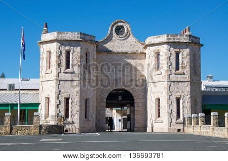 FREMANTLE,WA,AUSTRALIA-JUNE 1,2016:  Limestone Architecture and arched entrance of the Fremantle Prison in Fremantle, Western Australia.