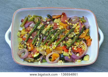 Grilled Vegetable Salad: grilled, vegetables, asparagus, red onion, bell peppers, corn, plum tomatoes, zucchini and romaine lettuce.