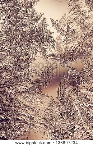 Beautiful Closeup Winter Window Pane Coated Shiny Icy Frost Patterns poster