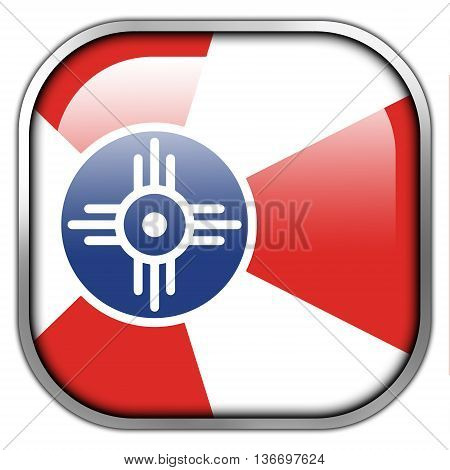 Flag Of Wichita, Kansas, Square Glossy Button