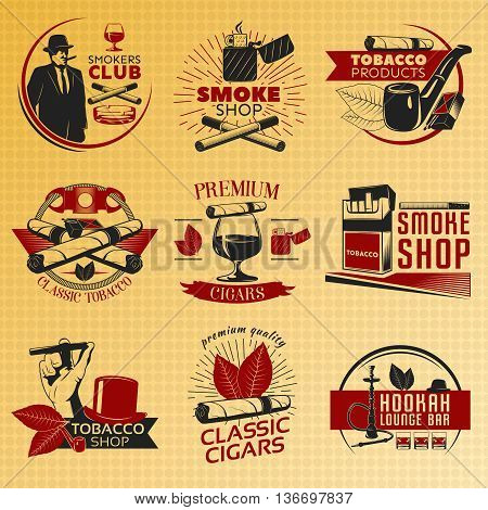 Smoking tobacco labels in color with descriptions of smoke shop smokers club tobacco products and premium cigars vector illustration