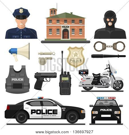 Flat isolated and colored police icon set with law enforcement officers and their means of transportation vector illustration