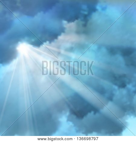 Realistic sunny rays lens flares on background of accumulation of clouds in blue white colors vector illustration