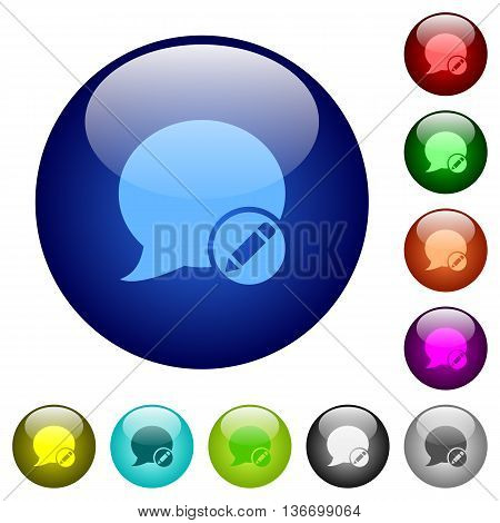 Set of color Moderate blog comment glass web buttons.