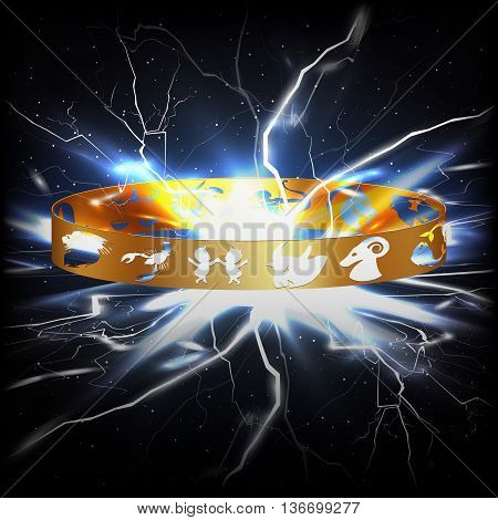 Vector ring with signs of the zodiac in space with the lightning flash. You can use any text or picture it on a black background.