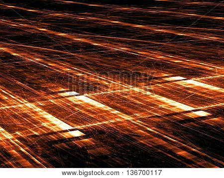 Abstract orange technology background - computer-generated image. Fractal pattern with glowing rectangles arranged in rows. Trendy background for web design, banners, posters
