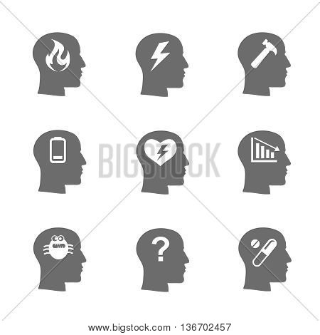 Mental health icons set, Stress concept, depression. Load desperate, emotional desperation, pressure stressful, symbol trouble and sadness, questions. illustration
