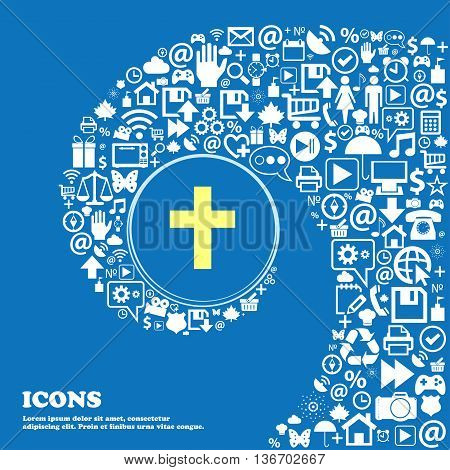 Religious Cross, Christian Icon . Nice Set Of Beautiful Icons Twisted Spiral Into The Center Of One