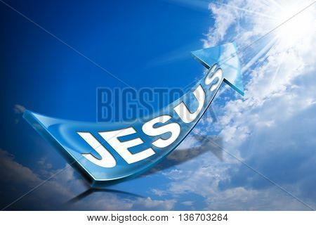 3D illustration of a Blue arrow with text Jesus against a blue sky with clouds and sun rays