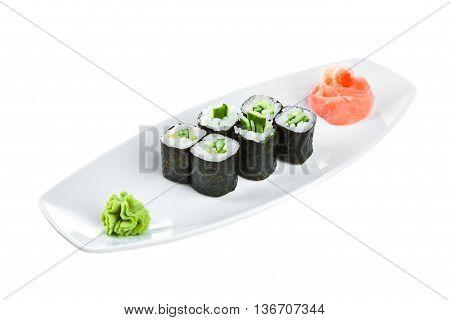 Sushi (kappa Maki Roll) On A White Background