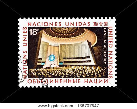 UNITED NATIONS - CIRCA 1978 : Cancelled postage stamp printed by United Nations, that shows Great Assembly.