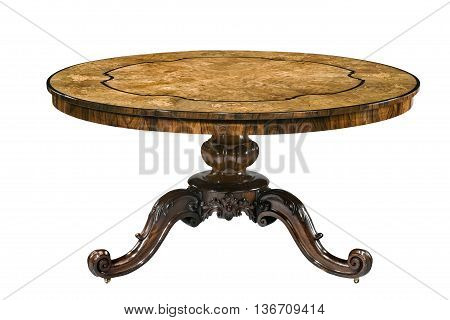 Decorative round walnut table old antique isolated on white with clipping path