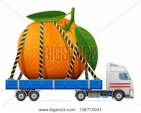 Road transportation of fresh orange fruit. Delivery of big orange with leaves in back of truck. Qualitative vector image about orange, agriculture, fruits, transportation, gastronomy, trucking, etc