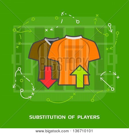 Flat illustration of soccer substitution against green. Flat design of players exchange in association football, front view. Vector image for soccer, sport game, football, championship, gameplay, etc