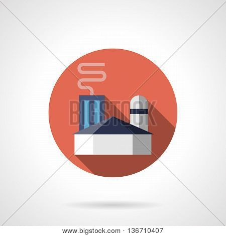 Abstract building of ironworks. Metallurgy and heavy industry. Factories and industrial facilities. Round flat color style vector icon.