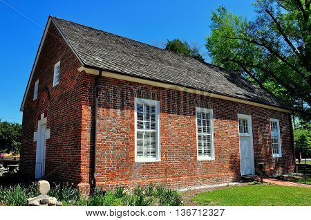 Bath North Carolina - April 25 2016: Historic 1734 St. Thomas Episcopal Church is the oldest church in the state *