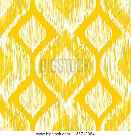 Ethnic modern tribal ikat white and yellow fashion seamless pattern. Vector ethnic background