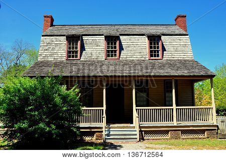 Bath North Carolina - April 25 2016: 1790 Van Der Veer Dutch Colonial Home with gambrel roof and three dormers *
