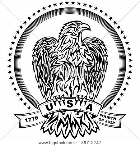 The eagle in tattoo-style with stars and stripes for design of the Independence Day of the United States on 4th July; Eps8