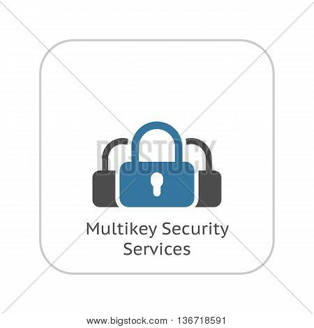 Multikey Security Services Icon. Flat Design. Isolated Illustration. Security concept with a three padlocks. App Symbol or UI element.