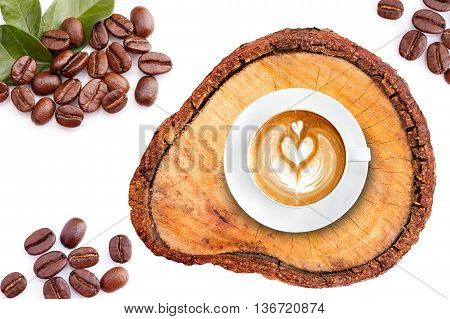Top View Latte Art Coffee On Wood With Roasted Coffee Beans