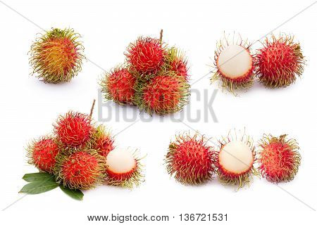 Rambutan Fruit Collection On White Background