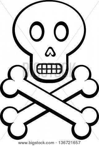 cartoon skull and crossed bones