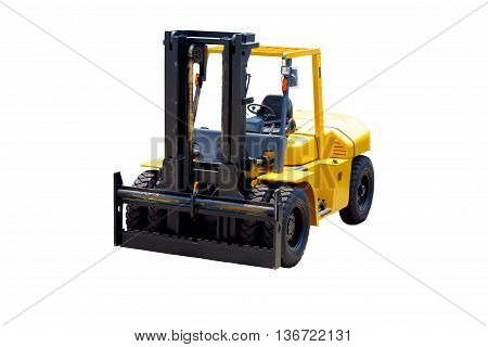 Forklift truck isolated on white background .