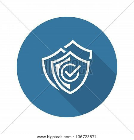 Multilevel Security Icon. Flat Design Isolated Illustration. App Symbol or UI element. Three Shields with a checkmark.