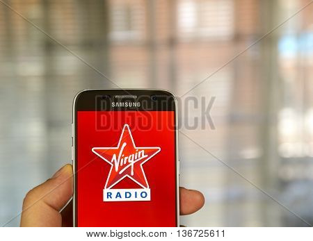 MONTREAL CANADA - JUNE 24 2016 : Virgin Radio android application on Samsung S7 screen. Virgin Radio is a brand owned by the Virgin Group.