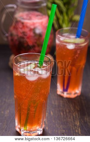 cold with ice fresh strawberry drink with green mint
