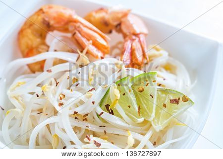 Rice Noodles With Shrimps And Bean Sprouts