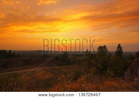 Warm sunset in Holy Cross Mountains, Poland