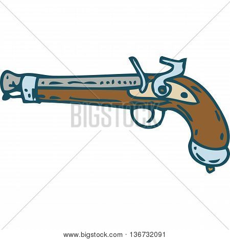 Vintage Flintlock Pistol or Musket. Isolated on a White