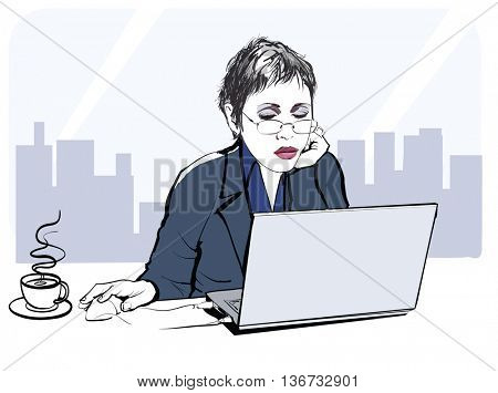 Young business woman at the office - vector illustration
