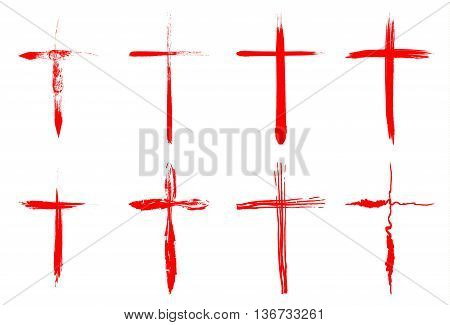 Hand drawn bloody crosses collection isolated over white background. Vector crosses illustration set