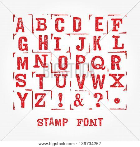 Hand made letterpressed font. Retro textured grunge alphabet with scratches. Vector latin alphabet. Vector isolated font on white. Imprint font letters. Vector stamp texture. Stamp isolated font.